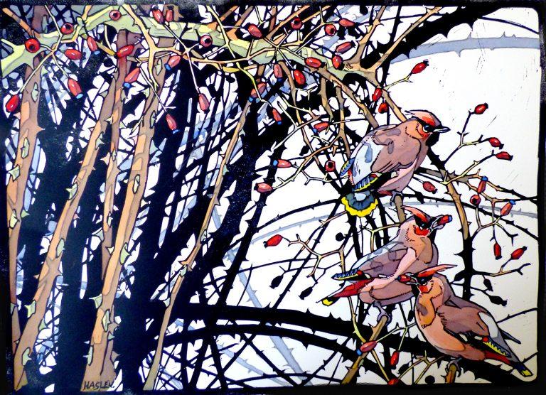 Andrew Haslen, 3 Pestvogels, Handgekleurde linoleumsnede, 48 x 66cm