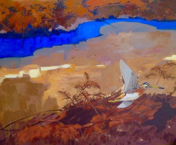 Andrew Haslen, Opvliegende Watersnip, Olieverf op linnen