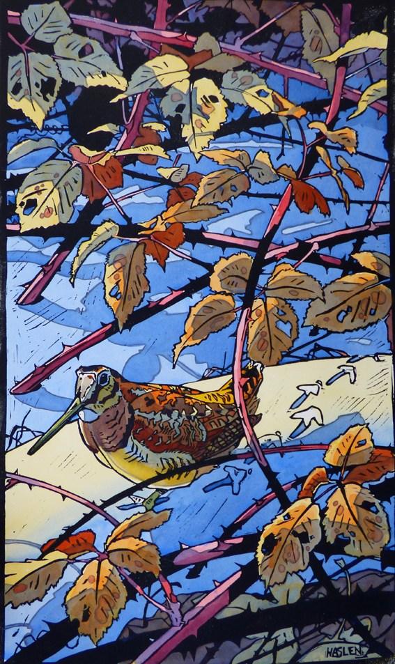 Andrew Haslen, Winter Houtsnip, Hand gekleurde linoleumsnede. 72 x 43 cm