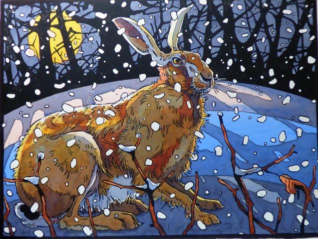 Andrew Haslen, The winter Hare, Linoleumsnede en aquarel